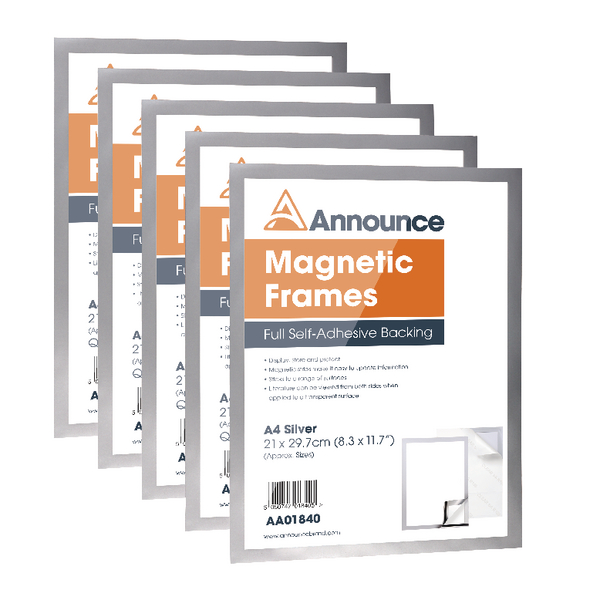 Announce Magnetic Frames A4 Silver (Pack of 5) AA01841