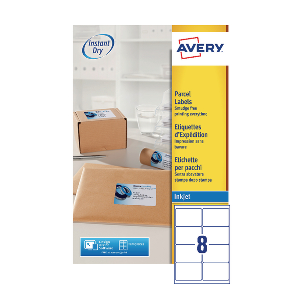 avery quickdry white inkjet labels 99 1 x 67 7mm 8 per sheet 20